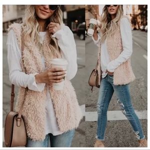 Cream shaggy vest with pockets